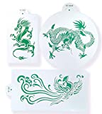 Stencils Set for Painting - Laser Cutting Floor Wall Tile Fabric Wood Cake Decorating Reusable Drawing DIY Stencils -Dragon and Phoenix Designs Scale Template (3 pcs)