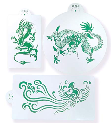 Stencils Set for Painting - Laser Cutting Floor Wall Tile Fabric Wood Cake Decorating Reusable Drawing DIY Stencils -Dragon and Phoenix Designs Scale Template (3 pcs) by ZOMCHAIN