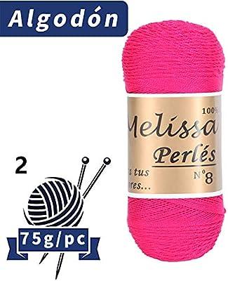 Melissa Perl/és 8 75 g * 10 unidades Hilo de Algod/ón para Ganchillo Hilado 100/% Algod/ón para DIY y Tejer a Mano Blanco 16,