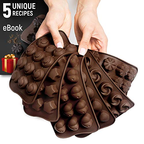 (Silicone Candy Molds + 5 Recipes eBook - 6 Pack - Ideal Silicone Molds For Fat Bombs - Chocolate Molds)