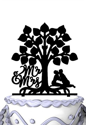 Meijiafei Monogram Mr and Mrs Kissing Couple under Tree Wedding Topper Design