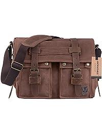 Jack&Chris®Canvas Genuine Leather Cross Body Messenger Handbag,MC2138K (dark coffee)