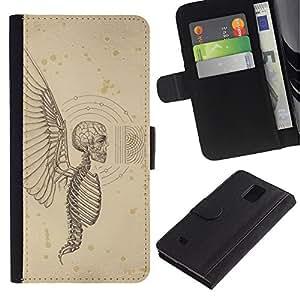 Be-Star la tarjeta de Crédito Slots PU Funda de cuero Monedero caso cubierta de piel Para Samsung Galaxy Note 4 IV ( Angel Death Wings Hell Skeleton Skull )