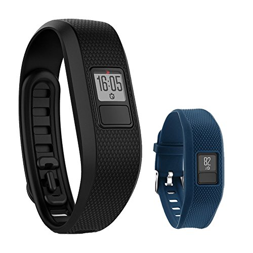 Garmin Vivofit 3 Activity Tracker Fitness Band - Regular Fit (Black) with Extreme Speed Silicone Replacement Wrist Band Strap (Blue) by Beach Camera