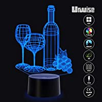 Wine glass 3D optical illusion night lights, seven color variations, smart touch button USB and battery power, amazing creative art design for children's Christmas gifts from Urwise