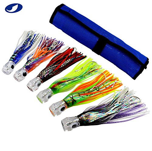 Ocean Cat SET of 6 Pcs 9'' inch Offshore Big Game Trolling Lure for Marlin Tuna Mahi Dolphin Durado Wahoo Trolling Lures Free Mesh Bag