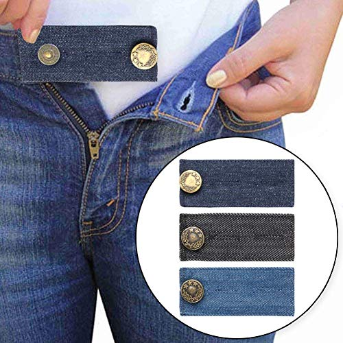 "Trousers Easy - Denim Waist Extenders for Men and Women, Easy Fit Buttons for Jeans Trousers with Metal Button, Add 1/2"" to 2"" Extra Space, Set of 3 in Various Color"