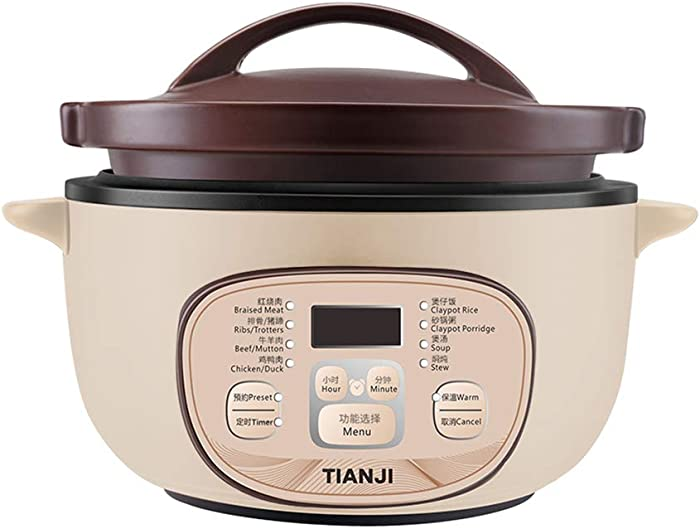 Tianji Electric Clay Stew Pot Electric Rice Cooker Slow Cooker DSG-TZ30 3.17 Quart Small Capacity, Adjustable Time Natural Ceramic Material Unglazed Porcelain 120V, Off-white and Brown