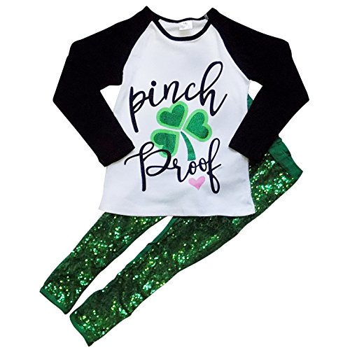 So Sydney Girls Lucky Girl Green Shamrock ST. Patrick's Day 2 Pc Boutique Outfit (XXL (7), Pinch Proof Sequin) -