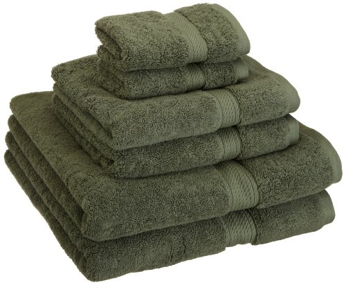 Superior 900 GSM Luxury Bathroom 6-Piece Towel Set, Made of 100% Premium Long-Staple Combed Cotton, 2 Hotel & Spa Quality Washcloths, 2 Hand Towels, and 2 Bath Towels - Forest Green (Green Towel)
