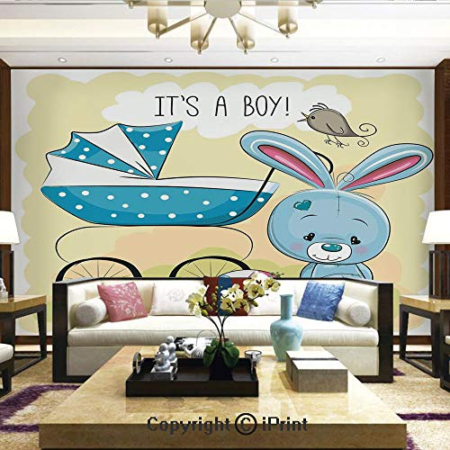 Lionpapa_mural Wall Decoration Designs for Bedroom,Kitchen,Self-AdhesiveCute Bunny Baby Carriage and Ball Its Boy Kids Design,Home Decor - 100x144 inches
