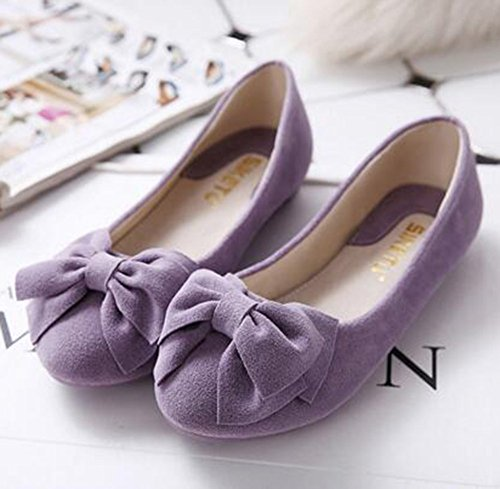 Summerwhisper Mujeres Elegant Bowknot Slip On Flat Pumps Zapatos Low Top Loafers Purple