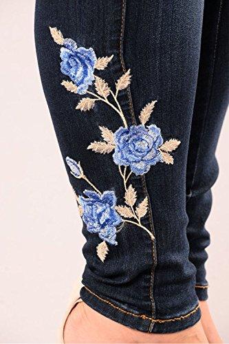 Pantaloni Ricamati Solido Navy Addosso Donne Molto Leggings I Elastico Occasionale Jeans wUz7BP