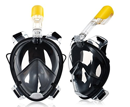 Defrosche Underwater Full Face Snorkel Mask 180° Panoramic View Anti-Fog Anti-Leak with Secure Fit and longer Snorkeling Tube for easy breathing GoPro Compatible Snorkelling Mask Large