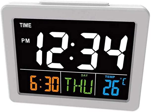 ALKLKJ Reloj de Pared Reloj Despertador Led Digital de Color Luminoso Pantalla Grande Pantalla de Reloj Despertador Temperatura Calendario Reloj de Escritorio Diseño Moderno Reloj de Mesa: Amazon.es: Hogar