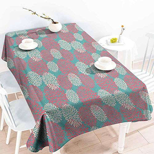 familytaste Rustic Home,Fitted tablecloths Dhalia Flower Garden Theme Extravagant Rural Wild Floral Plants Pattern 60