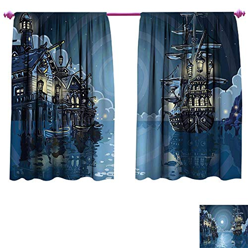 Pirate Blackout Window Curtain Fantasy Adventure Island Faery Mystery Ships Pirate Cove Bay Swirled Moon Rays Customized Curtains W55 x L63 Blue White ()