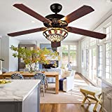 Andersonlight Fan Modern Ceiling Fan 5 Wood Blades With Tiffany Glass Shade, Quiet Handmade Fan Chandelier, Remote Control, Black Finish, 52-Inch
