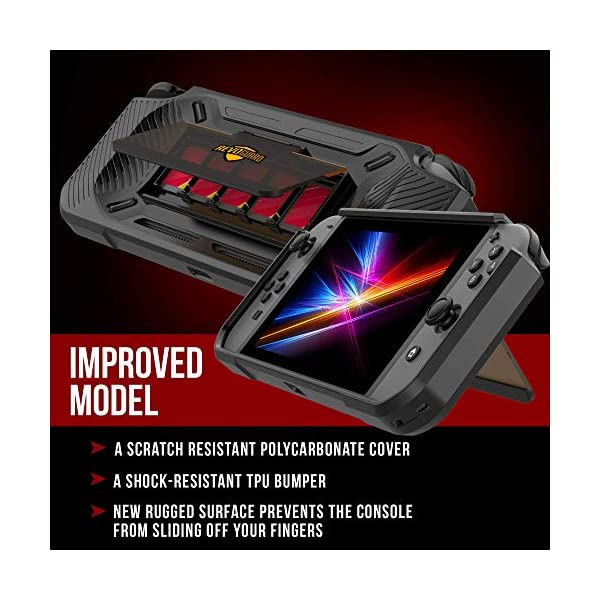 RevoGuard Slim Heavy Duty Switch Case [Stores 5 Games] Compact Multi Angle Holder Play Stand for Nintendo Switch 8