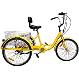 Ridgeyard 6 Speed 24 Inch 3 Wheel Adult Tricycle Bike Cycling Pedal Cruiser Bicycles with Folding Basket (Yellow)