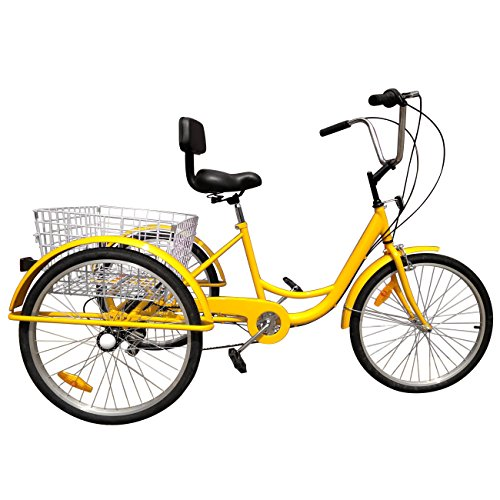Best Price IglobalbuyYellow 24-Inch 6-Speed Adult Tricycle Trike 3-Wheel Bike Cruise Bike with Baske...