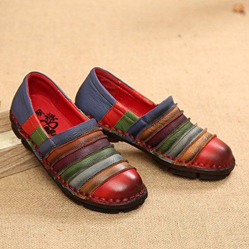 Fuxitoggo Scarpe Scarpe Scarpe arcobaleno per le donne in pelle colorata piatta comoda slittamento sui fannulloni (Colore : Nero, Dimensione : EU 38) Rosso bcc325