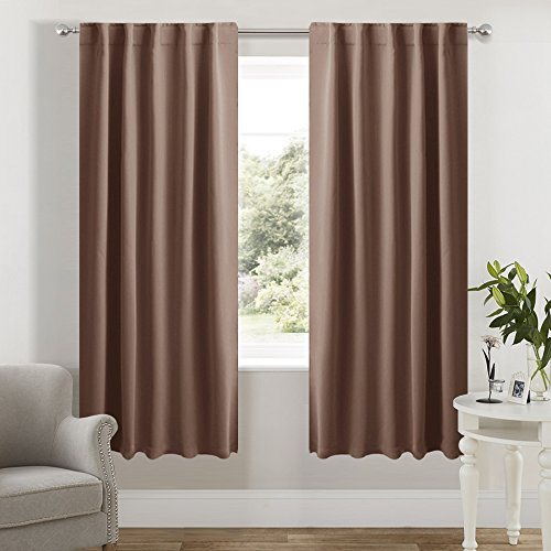 Design Window Panel (Bedroom Curtains Blackout Drapery Panels - (Cappuccino Color) 42 inch wide by 72 inch long, Two Panels Set, New Design Insulated Room Darkening Window Drapes With 6 Back Loops by NICETOWN)