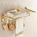 Champagne golden folding bath towel rack, space aluminum towel rack, European style 58cm