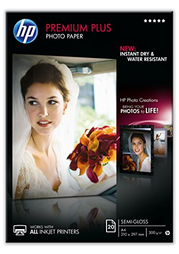 (HP CR673A A4/210 x 297 mm Premium Plus Semi-Gloss Photo Paper, 300 GSM, 20)
