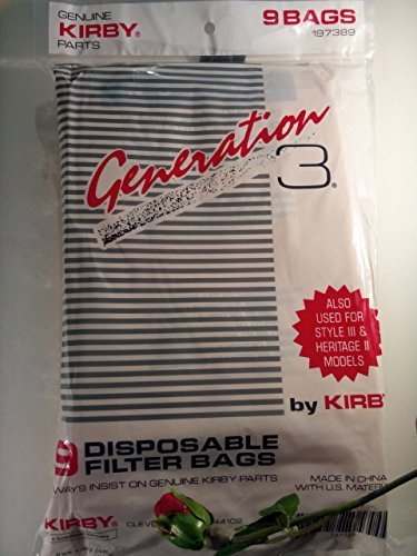 Kirby Vacuum Cleaner Disposable Cloth Paper Bags Genuine Kirby Generation 3 - 9 Pack