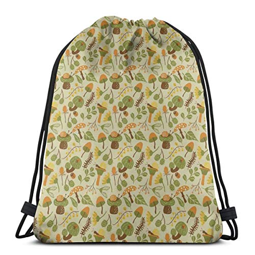 - Unisex Drawstring Bag Gym Bags Storage Backpack,Autumn Flora Inspired Design With Thistle And Campanula Flowers Orange Toned Snails