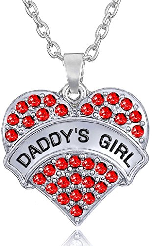 'Daddy's Girl' Engraved Heart Necklace for Daughters, Birthday Jewelry Gifts from Father, Dad, Presents for Little Girls and Teens (Red)