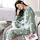Junson Sleepsuits Women's Cotton Long-Sleeved Pajamas Spring and Autumn Blue Green Simple Home Service Suits (Color : Blue, Size : L) for You (Color : Green, Size : X-Large)