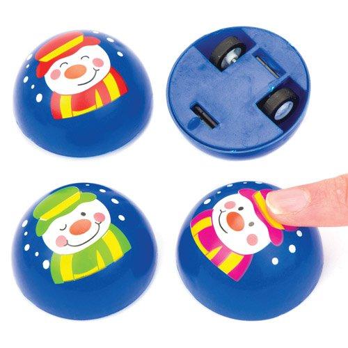 Baker Ross Pull-Back-Racer Fröhlicher Schneemann für Kinder – Zum Spielen und als Geschenk für Kinder zu Weihnachten (4 Stück)
