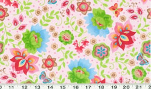 - 1 Yard Suzette by Sue Zipkin from Clothworks Light Pink Floral 100% Cotton Quilt Fabric Y0911-41