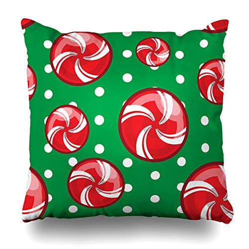 Ahawoso Throw Pillow Covers Sugar Red Caramel Candy Cane Christmas Abstract Art Holidays Celebration December Dessert Food Heart Zippered Pillowcase Square Size 18 x 18 Inches Home Decor Cushion Case