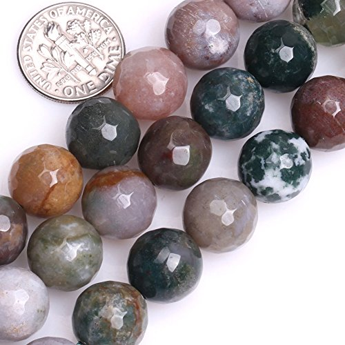 Agate Round Ring (GEM-inside Indian Agate Gemstone Loose Beads 12mm Round Faceted Energy Stone Healing Power Beads for Jewelry Making 15