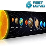 Solar System Poster Science Banner 17 inches x 6 feet | Classroom Decorations Vinyl Sign | Educational Reference, Space, Vibrant Colors, No Tearing | For Student, Teacher, Professor (Image)