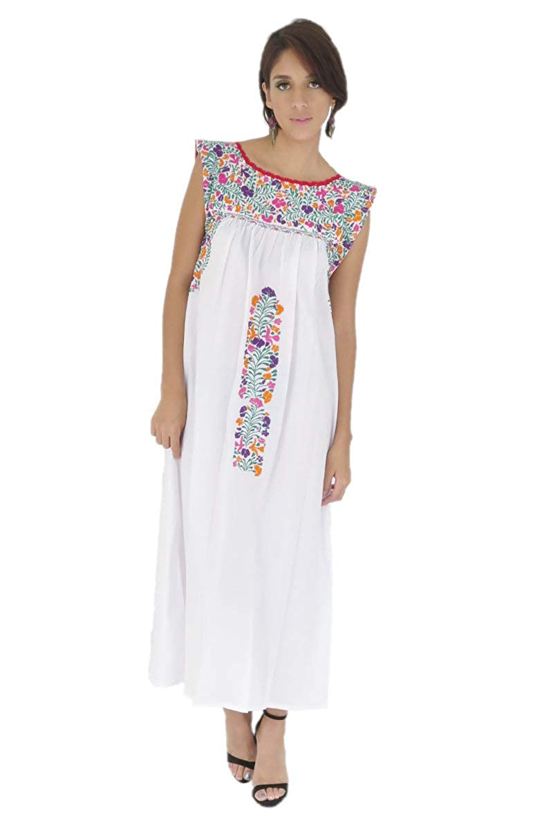 White Midi 8870 Mexican Clothing Co Womens Mexican Dress Fancy Sleeveless San Antonino Poplin ST