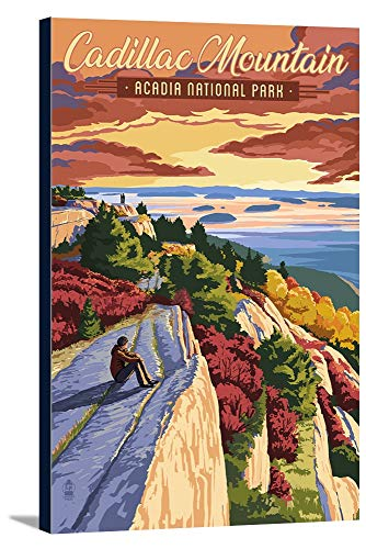 (Acadia National Park, Maine - Cadillac Mountain Illustration (12x18 Gallery Wrapped Stretched Canvas))