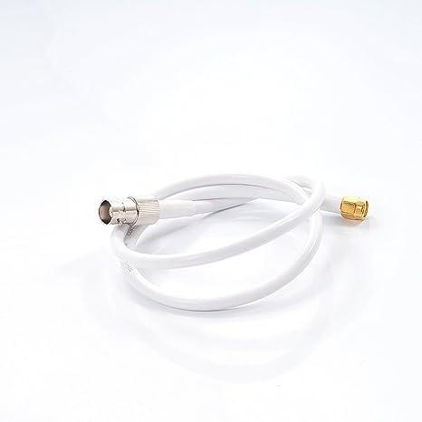 Phonetone 10 Metros 32.8 pies RF Antena RG58 Extensión Cable Coaxial Blanco Line Wire enchufes Jack Crimped SMA Macho a BNC Hembra Sellado Adaptador de ...