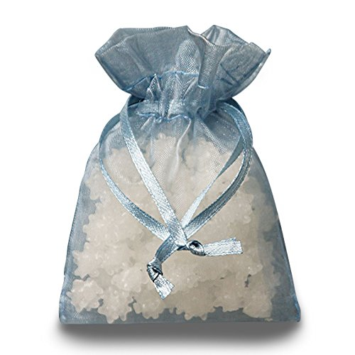 Smoke Blue Organza Drawstring Bags   Quantity: 30   Width: 6