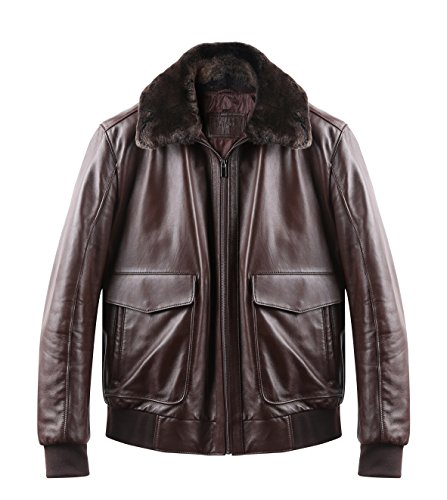 Saros Brand Los Angeles - Bomber Genuine Leather Jacket - Real Sheepskin Brown Flight Pilot Jacket (Medium) by Saros Brand