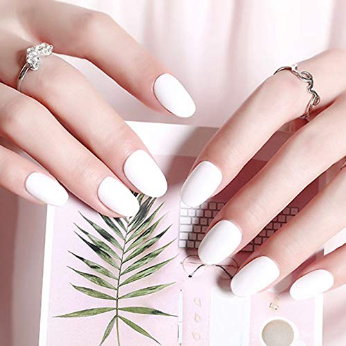 24Pcs/Set Rose Pink Short Full Cover Frosted Nail Tips Round Head Matte False Black Small Oval Fake Nails Art Set 285 white