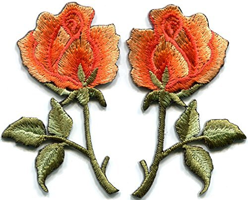 - Orange roses pair flowers floral retro boho hippie embroidered appliques iron-ons patches new