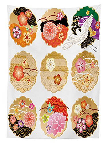 Review Ambesonne Japanese Decor Tablecloth,