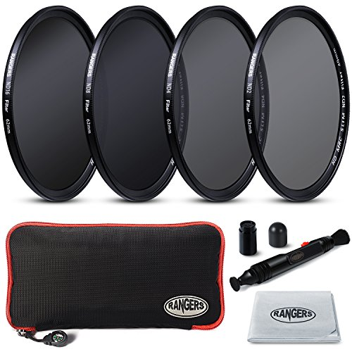 2mm Ultrathin, Rangers 62mm Full ND2, ND4, ND8, ND16 Neutral Density Filters and Carrying Case + Lens Cleaning Cloth + Lens Cleaning Pen, without vignetting by Rangers