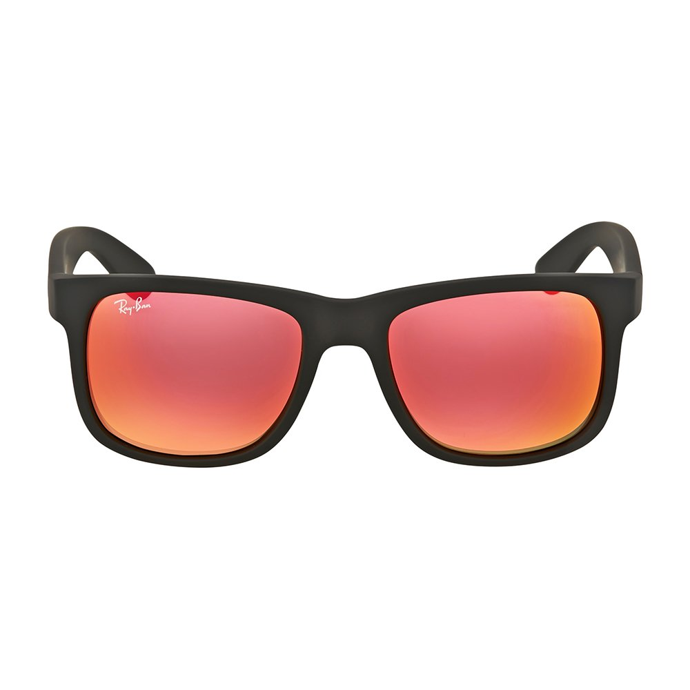 Ray-Ban JUSTIN - RUBBER BLACK Frame BROWN MIRROR ORANGE Lenses 51mm Non-Polarized