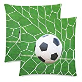InterestPrint Soccer Football on Net Pillow Case Cover 18x18 Twin Sides for Couch Bed, Sport Ball Zippered Throw Pillowcase Shams Decorative, Set of 2