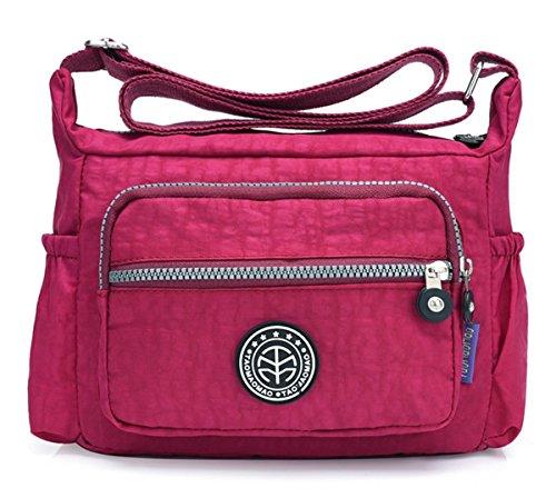 Nylon Water Bag Crossbody Wine Red Multi wtih Shoulder Women's Kayers resistant Sulliva Zipper Lightweight Pockets tXFwXq